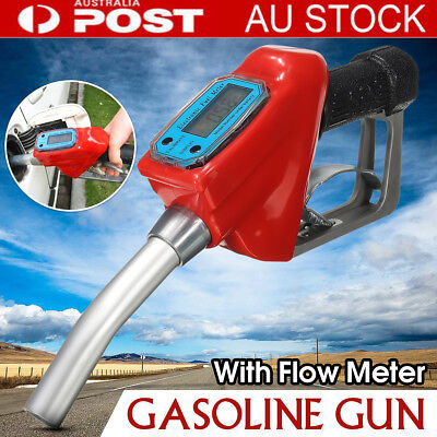 Fuel Gasoline Petrol Oil Diesel Delivery Gun Dispenser w/ Digital Flow Meter AU