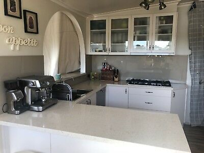 USED - Kitchen cream with Ceaserstone bench -  gas stove, sink and all cupboards