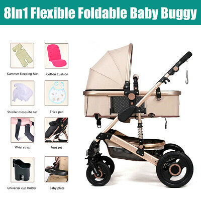 8in1Luxury Newborn Baby Stroller Buggy Pram Pushchair Carriage Infant Travel Car