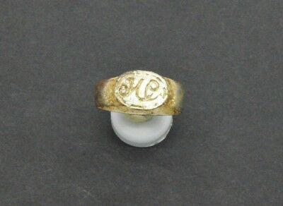 Post medieval period silver ring with inicials. 18 Century.