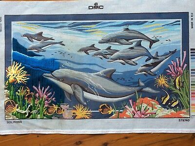 """Vintage Tapestry Canvas by DMC -    """"Dolphins""""  No. 579740"""