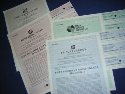 4 diff Japanese corporate bonds in 50.000 Swiss Francs each, 1987-90
