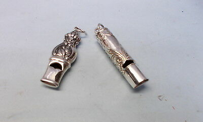 2 Solid Sterling Silver Ornate Whistle Pendants