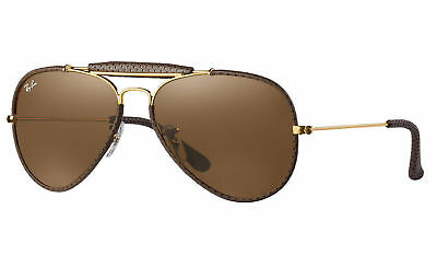 Ray Ban Outdoorsman Craft  RB 3422Q 9041 Gold Brown Leather Sunglasses New Italy