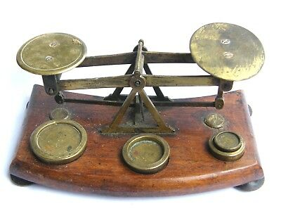 Antique-Victorian-Good Set Of Warranted Postal Scales With Brass Weights-c1880's