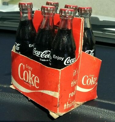 Vtg Miniature Coca Cola Coke Bottle Carrier Set Six Pack 6 It's The Real Thing