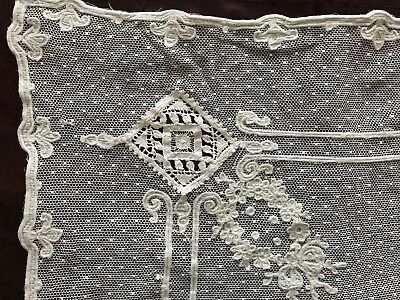 """Wide ANTIQUE NEEDLE WORK application on PLUMETIS tulle -Bobbin lace -136"""" by 49"""""""