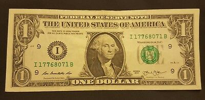 2013 One Dollar(I)..Circulated..OVER-INKING..See pictures!!