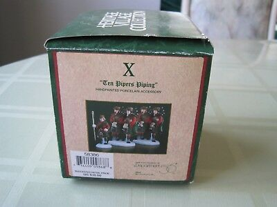 """DEPT 56 THE 12 DAYS Of DICKENS' VILLAGE, """" TEN PIPERS PIPING """" NIB TAGS"""