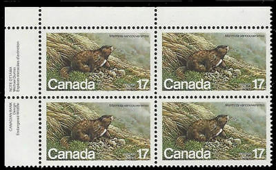 "1981 Canada SC#883 ""Canadian Endangered Wildlife  "" 17¢ - UL plate block - MNH"
