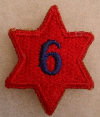 "Wwii 6Th Div Early Pattern W/ Blue Emb ""6"" In Center Of Patch Partial White Back"
