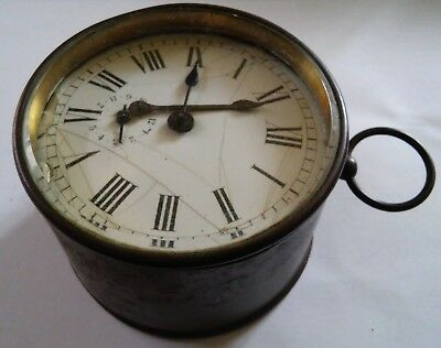 Antique French Drum Clock ( Not Working ) Parts Or Repairs £1 Start & N0 Reserve