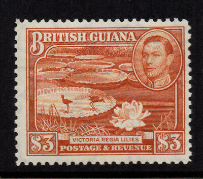 British Guiana 1938/52 $3 Red-Brown KGVI (Lilies) - Perf 12½ - SG 319 - LMM