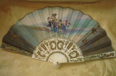 Antique Hand Painted Spanish Fan Celluloid Stick,  Grape Harvest Signed Colomina