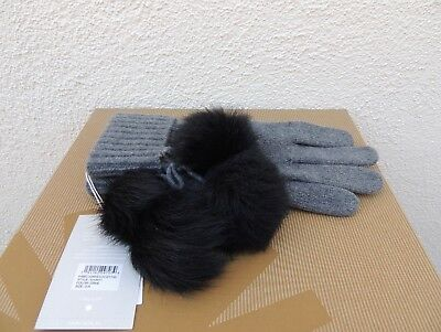 Ugg Grey Heather Ribbed 100% Cashmere Gloves With Poms  ~One Size ~ Nwt