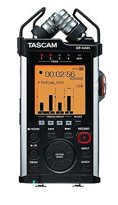 TASCAM Portable Handheld Recorder with XLR and WiFi, 4 Channels, Black (DR-44WL)
