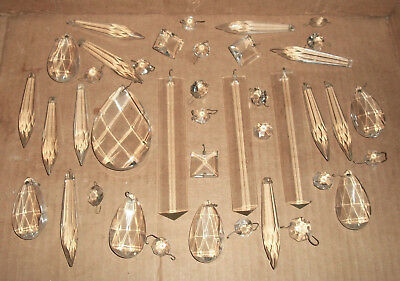 40 Vtg Lot of Glass LAMP Chandelier Parts w Faceted Prisms Crystals & Toppers ++