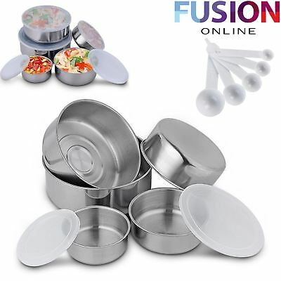 15 Stackable Stainless Steel Bowl Bowls Food Storage Kitchen Spoons Set With Lid