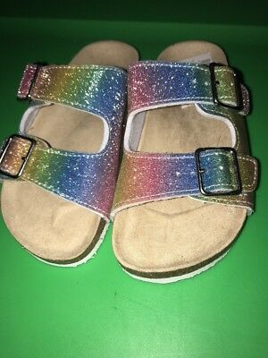 NWT Childrens Place Slip On Sandals Rainbow Sparkle Size 13