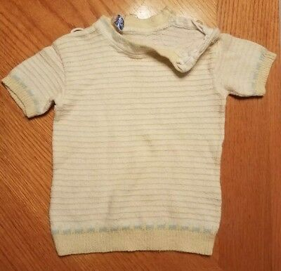 Vintage 1950's Girls Yellow & White Striped Short Sleeve DONMOOR Sweater