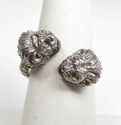 950 Silver Double Headed LION Bypass Ring Signed V30 Vintage Antique Hellenistic