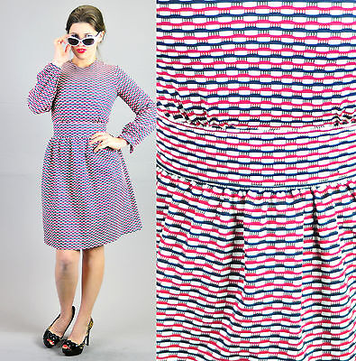 d75a8a9c3504 VTG 60s MOD GOGO Scooter Space Age TWIGGY Dolly Poly dress sz S ABSTRACT!