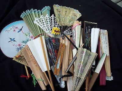Lot of 25 Vintage Folding Hand Fans - Paper, Wood, LOOK