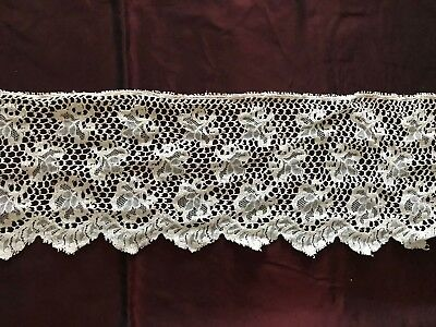 """Antique LACE EDGING TRIM with beautiful floral design. Cotton 27"""" by 5 1/4"""""""