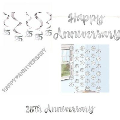 VARIOUS SILVER ANNIVERSARY 25th BANNERS STRING 25 YEARS PARTY DECORATION WEDDING