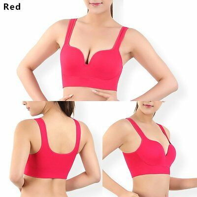 Women Sports Yoga Padded Bra Fitness Stretch Workout Tank Top Racerback Red L