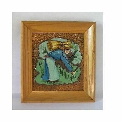 Original Pair Albert Gilles Arts & Crafts Hammered Copper Enamel Framed Plaques