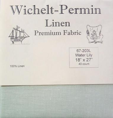 "Wichelt Permin 100% Linen Water Lily 40 Ct 18"" x 27"" Cross Stitch Fabric"