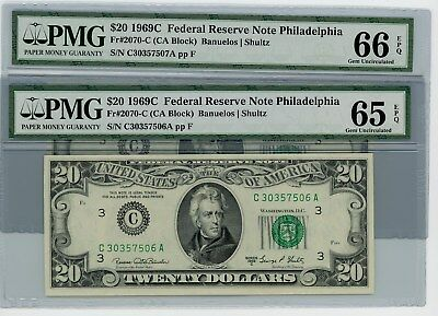 Fr. 2070C $20 1969C 2 Consecutive Federal Reserve Notes #30357506-7 65-66EPQ PMG