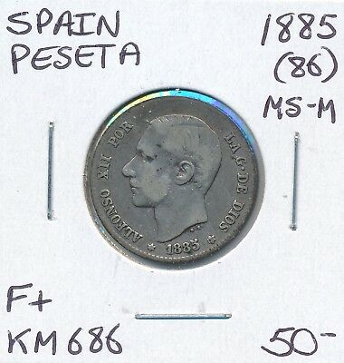 Spain Peseta 1885  (86) Ms-M Km 686  - F+