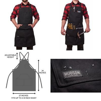 Hudson Durable Goods Heavy Duty Waxed Canvas Work Apron with Tool Pockets (Black