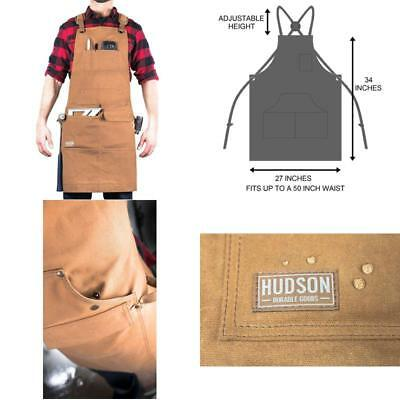 Hudson Durable Goods - Woodworking Edition - Waxed Canvas Apron (Brown) - Padded