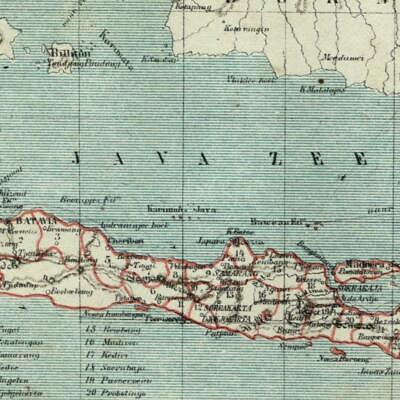 Java Indonesia 1882 charming small Dutch old map