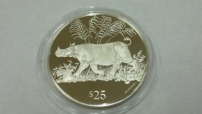 1993 British Virgin Islands Rhinoceros Silver 925 Proof