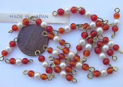 Vintage 3mm Pomegranate Red Glass & Pearl Connector Beads 24