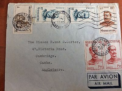 Postal History Madagascar Air Mail cover sent to UK 1952