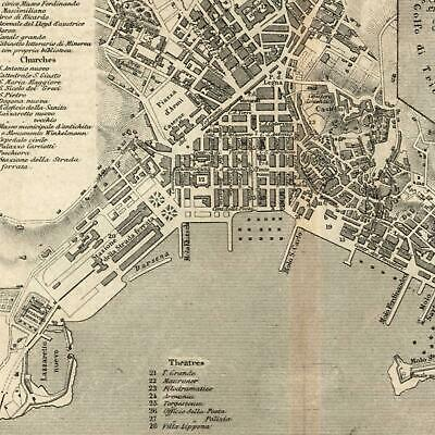 Trieste Italy Italia 1873 detailed old city plan map w/ key of important sites