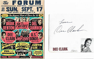 Dee Clark - vintage in person hand signed program cover cut with picture...