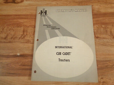 VINTAGE 1970 IH Operator's Manual International Cub Cadet Tractors ,,