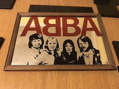 Abba Vintage Medium Sized 1970's Framed Wooden Mirror Picture