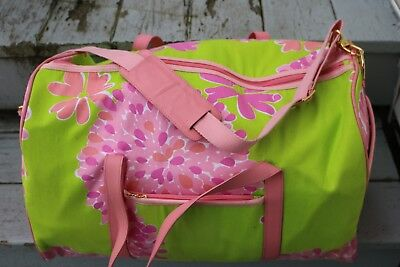 Lilly Pulitzer Large Travel Bag Lime Green Pink Mums Shoulder Strap Beautiful!