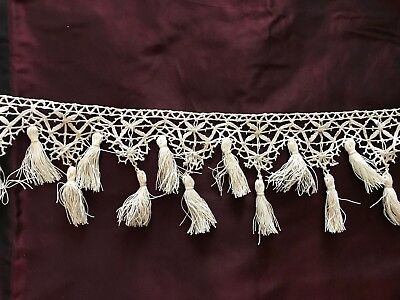 """Stunning Antique BOBBIN LACE EDGING CLUNY with tassels for DECORATION - 85"""""""