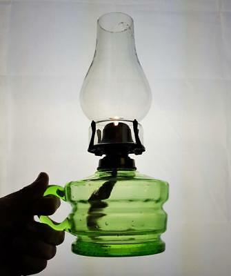 Vintage Veritas Green Glass Kerosene Paraffin Oil Finger Lamp, Burner & Chimney