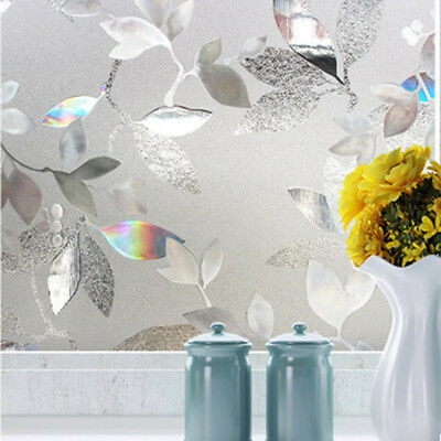 3D Static Cling Frosted Flower Sticker Window Glass Door Film Privacy Home Decor