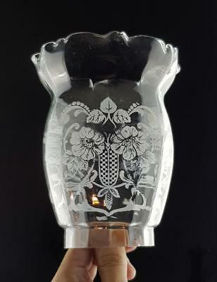 Victorian Etched Glass Kerosene Paraffin Oil Upright Gas Lamp Shade Peg