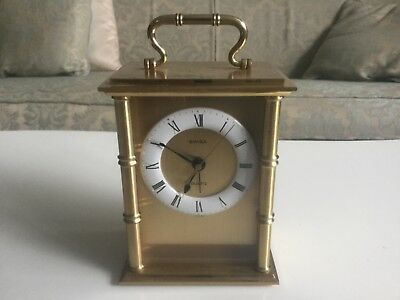 SOLID BRASS SWIZA SWISS CARRIAGE CLOCK WITH ENAMEL BEZEL + ALARM 145mm HIGH